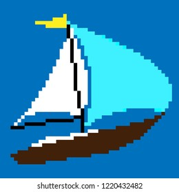 pixel-art sailing boat on a blue background, sailing yacht with yellow flag, white and turquoise sails, pixel-art sailing