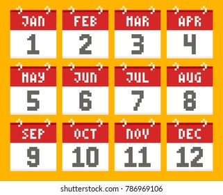 Pixel-Art Style Calendars From January to December. EPS8 Vector
