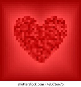 Pixel-art vector illustration: red pixel heart on rose and red background