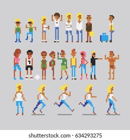 pixelate people characters icons set, vector illustration, isolated on grey background.