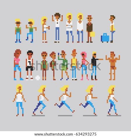 pixelate people characters icons