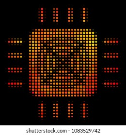 Pixelated asic processor icon. Bright pictogram in orange color hues on a black background. Vector halftone collage of asic processor pictogram constructed of circle pixels.