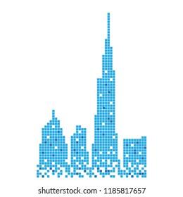 Pixelated blue building of burj khalifa illustration design vector