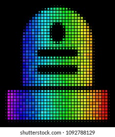 Pixelated bright halftone grave icon drawn with spectrum color shades with horizontal gradient on a black background. Colored vector mosaic of grave illustration shaped with rectangular particles.