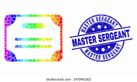 Pixelated bright spectral certificate diploma mosaic icon and Master Sergeant stamp. Blue vector rounded distress seal with Master Sergeant title. Vector composition in flat style.