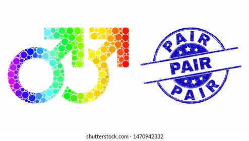 Pixelated bright spectral gay pair symbol mosaic pictogram and Pair seal stamp. Blue vector rounded textured seal stamp with Pair phrase. Vector collage in flat style.