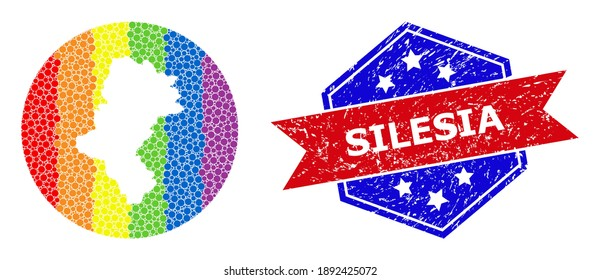 Pixelated bright spectral map of Silesia Province mosaic created with circle and subtracted space, and textured seal stamp. LGBT spectrum colored dots around empty map of Silesia Province.