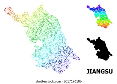 Pixelated bright spectral, and monochrome Map of Jiangsu Province, and black name. Vector structure is created from Map of Jiangsu Province with spheres. Illustration is useful for political aims.