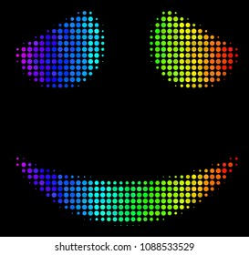 Pixelated colorful halftone embarassed smile icon in rainbow color tinges with horizontal gradient on a black background.
