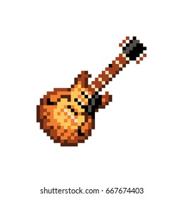 Pixelated electric guitar - isolated vector illustration