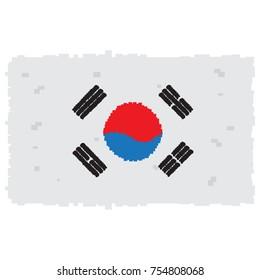 Pixelated flag of South Korea, Vector illustration