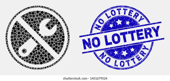 Pixelated forbidden repair mosaic icon and No Lottery seal stamp. Blue vector rounded grunge watermark with No Lottery phrase. Vector collage in flat style.