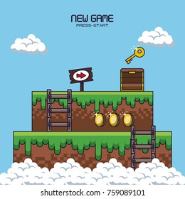 pixelated game scenery icons vector illustration graphic design