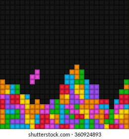 Pixelated game tetris - vector colorful pattern with bricks.