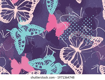 Pixelated graffiti butterflies in a pretty color pallet for girls. Seamless vector patterns are great for backgrounds, wallpaper, and surface designs.