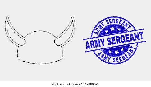 Pixelated horned helmet mosaic pictogram and Army Sergeant seal stamp. Blue vector rounded grunge watermark with Army Sergeant message. Vector composition in flat style.