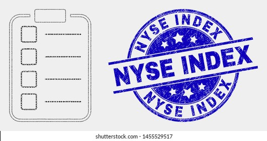 Pixelated list items pad mosaic icon and Nyse Index seal. Blue vector round grunge seal with Nyse Index text. Vector composition in flat style.
