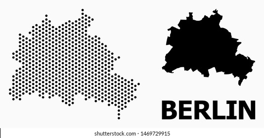 Pixelated map of Berlin City collage and solid illustration. Vector map of Berlin City composition of round pixels with hexagonal geometric order on a white background.