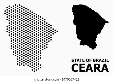 Pixelated map of Ceara state composition and solid illustration. Vector map of Ceara state composition of round points with honeycomb periodic array on a white background.