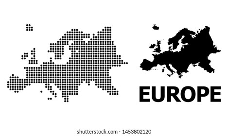 Pixelated map of Europe composition and solid illustration. Vector map of Europe combination of sphere dots on a white background. Abstract flat geographic scheme for educational illustrations.
