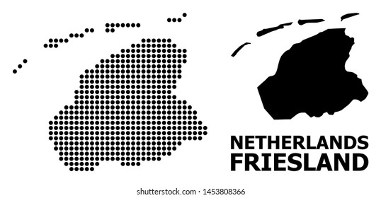 Pixelated map of Friesland Province composition and solid illustration. Vector map of Friesland Province composition of round items on a white background.