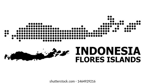 Pixelated map of Indonesia - Flores Islands composition and solid illustration. Vector map of Indonesia - Flores Islands composition of sphere elements on a white background.