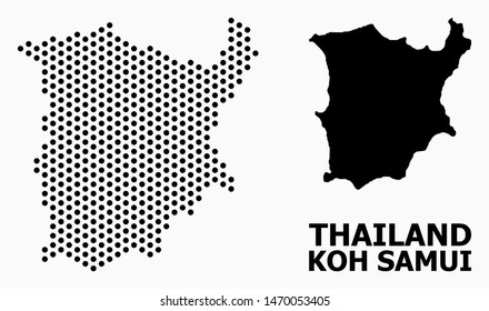 Pixelated map of Koh Samui composition and solid illustration. Vector map of Koh Samui composition of circle pixels with hexagonal periodic order on a white background.