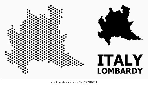 Pixelated map of Lombardy region collage and solid illustration. Vector map of Lombardy region composition of sphere items with hexagonal geometric order on a white background.