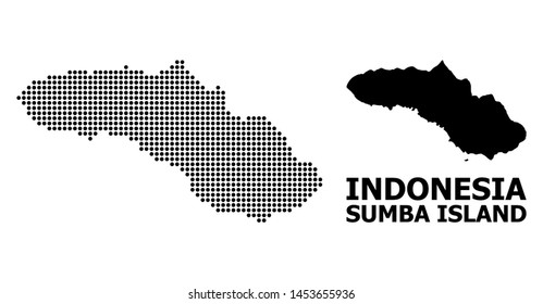 Pixelated map of Sumba Island composition and solid illustration. Vector map of Sumba Island composition of spheric spots on a white background.