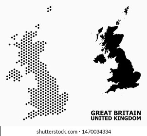 Pixelated map of United Kingdom composition and solid illustration. Vector map of United Kingdom composition of circle dots with honeycomb periodic array on a white background.