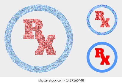 Pixelated and mosaic RX receipt symbol icons. Vector icon of RX receipt symbol composed of scattered round points. Other pictogram is combined from dots.