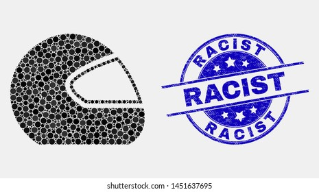 Pixelated motorcycle helmet mosaic pictogram and Racist seal stamp. Blue vector round textured stamp with Racist caption. Vector collage in flat style.