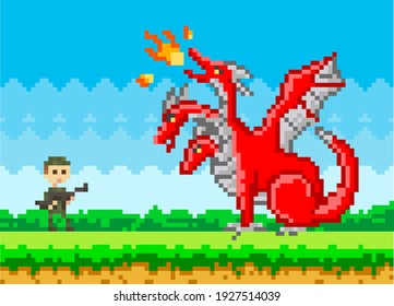 Pixelated natural landscape with soldier warrior holding weapon fighting against red three-headed dragon. Cartoon pixel-game person to use in computer game. Minimalistic pixel military man with gun