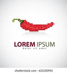 Pixelated pepper logo design