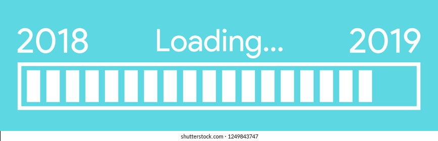 pixelated progress bar year 2018 to 2019 loading vector illustration