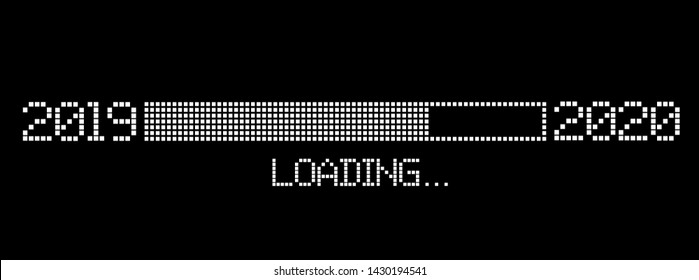 pixelated progress bar year 2019 to 2020 loading vector illustration