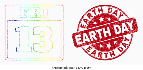 Pixelated rainbow gradiented 13 friday calendar page mosaic pictogram and Earth Day watermark. Red vector round scratched watermark with Earth Day text. Vector collage in flat style.