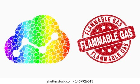 Pixelated rainbow gradiented cloud chart mosaic pictogram and Flammable Gas seal stamp. Red vector rounded scratched seal with Flammable Gas phrase. Vector combination in flat style.