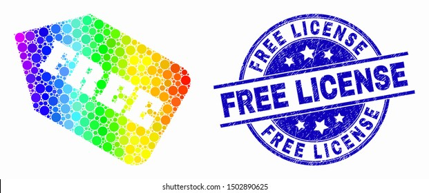 Pixelated rainbow gradiented free tag mosaic pictogram and Free License seal. Blue vector round distress seal with Free License text. Vector collage in flat style.