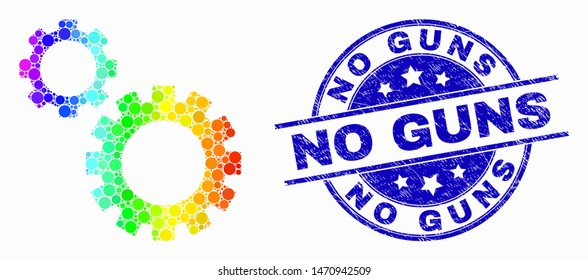 Pixelated rainbow gradiented gears mosaic pictogram and No Guns watermark. Blue vector round grunge seal with No Guns message. Vector combination in flat style.