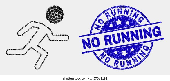 Pixelated running boy mosaic icon and No Running seal stamp. Blue vector rounded textured seal with No Running caption. Vector combination in flat style.