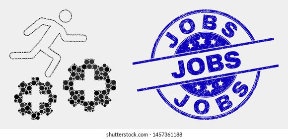 Pixelated running patient on gears mosaic pictogram and Jobs seal stamp. Blue vector rounded grunge seal stamp with Jobs message. Vector composition in flat style.