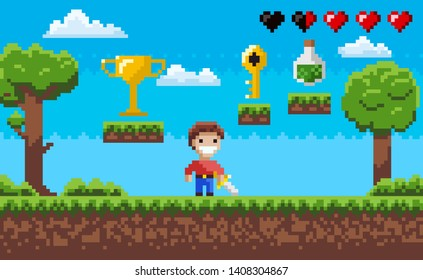 Pixelated scenery vector, pixel art game process with hero character and nature, life in form of hearts, elixir in bottle, award on layer, golden key