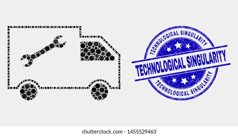 Pixelated service van mosaic icon and Technological Singularity seal stamp. Blue vector round scratched stamp with Technological Singularity phrase. Vector composition in flat style.