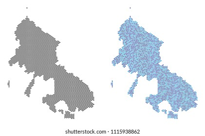 Pixelated Skyros Greek Island map version. Vector territorial plans in black color and cold blue color hues. Abstract composition of Skyros Greek Island map designed from round dot array.