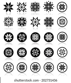 Pixelated snowflakes, Christmas icons