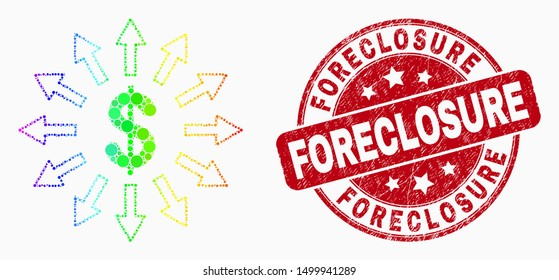 Pixelated spectral dollar emission mosaic icon and Foreclosure seal stamp. Red vector rounded grunge watermark with Foreclosure phrase. Vector collage in flat style.