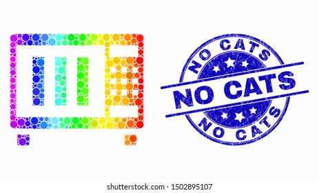 Pixelated spectral microwave oven mosaic pictogram and No Cats seal stamp. Blue vector round grunge seal stamp with No Cats text. Vector composition in flat style.