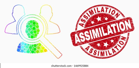 "Pixelated spectral search people mosaic pictogram and ""Assimilation"" stamp. Red vector rounded scratched stamp with ""Assimilation"" phrase. Vector composition in flat style."