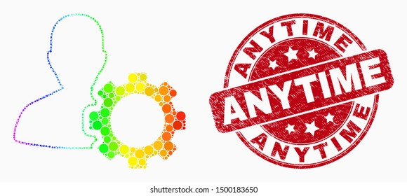 Pixelated spectral user options gear mosaic icon and Anytime watermark. Red vector rounded distress watermark with Anytime message. Vector collage in flat style.